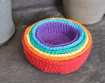 Rainbow Crochet Nesting Bowls - A Waldorf and Montessori Baby Toy (K)