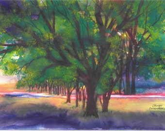 """Trees, Morning Light, Shadows,Bright Colors,Glowing,Landscape,Sunlight,Fine Art Giclee 6.5"""" x 9"""" by Janet Dosenberry Print by"""