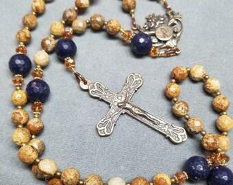 SALE Rosary Blue Sapphire Bronze Handmade Catholic gift Picture Jasper HeartFelt Rosaries