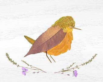 yellow bird leaf collage print 8x10