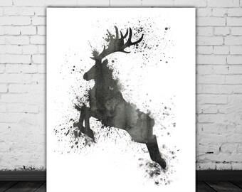 Watercolor Deer Print, Black And White Art, Deer Wall Art Animal Art Print, Deer Printable Art Print, Black White Poster, Deer Decor