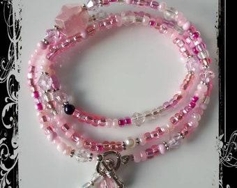 Pretty pink beaded bracelet.