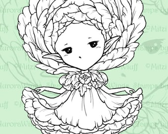 PNG Digital Stamp - Whimsical Ranunculus Sprite - Instant Download - digistamp - Fantasy Line Art for Cards & Crafts by Mitzi Sato-Wiuff