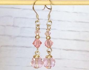 Soft Pink Swarovski Earrings Swarovski Pink Dangle Earrings Pink Crystal Dangle Earrings Drop Earrings Bridal Wedding Earrings Prom Earrings