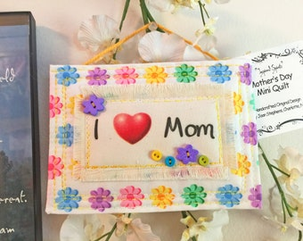 Quilted Mother's Day card. Quilted gift tag, card plus envelope, Mother's Day Card, Quilted Gift Tag, Fabric ornament, Quilted Card #2