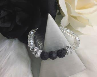 Glass Bicone Beaded Bracelet with Lava Beads