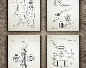 Barber Shop Patent, Barber Printable, Barber Poster, Barber Patent, Barber Pole, Barber Chair, Barber Set of 4 Prints - INSTANT DOWNLOAD -