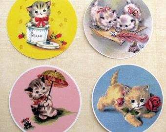 Vintage Cute Kitten Stickers