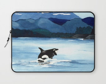 Scenic Macbook Pro Laptop Case - Artistic Printed Fabric Laptop Sleeve - Orca Painting