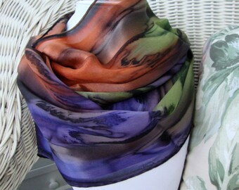 Sedona Sunset Chocolate Eggplant Olive Burnt Orange Hand Dyed Silk Scarf--Large Size
