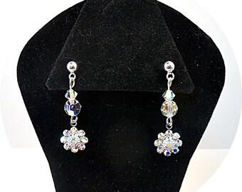 Girls Crystal Earrings, Sparkly Earrings, Kids Jewelry, Pageant Jewelry, Flower Girl Earrings, Glitz Jewelry, Competition Earrings, Dangle