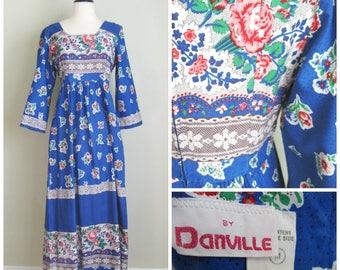 1970's Cotton Blue Floral Maxi Dress// Danville// Bell Sleeves// BoHo