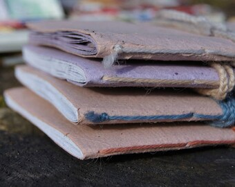 Little Notebooks from Handmade recycled paper - A simple tiny book with colorful cover - Pick one - 10 pages - Travel Journal - Sketchbook