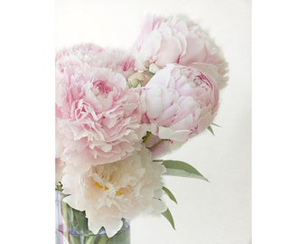 Pink Peony Print, Hygge Decor, Cottage Chic Wall Decor,  Peony Photography,  Floral Bedroom Decor, Flower Photography