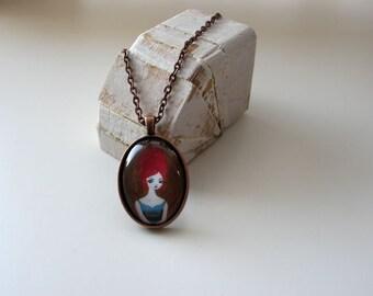 Orange Doo - mini print necklace pendant and chain