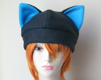 Fleece Cat Hat / Solid BLACK with BRIGHT BLUE Inner Ears Beanie Cap Style Cute Anime Neko Cosplay Cat Kitty Ears Kawaii Animal Costume Hat