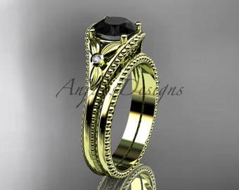 Flower bridal set 14k yellow gold unusual Black diamond engagement ring ADLR377S