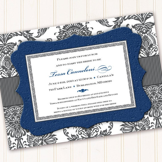 bridal shower invitations, cobalt bridal shower invitations, navy blue bridal shower invitations, wedding invitations, wedding package IN218