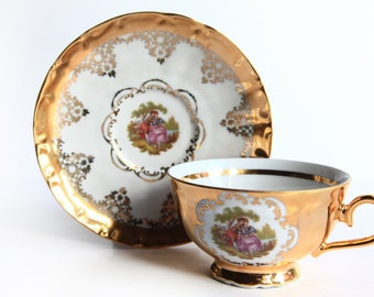 STW Bavaria Germany Tea Cup w/ Saucer Courting Couple Vintage Porcelain China Gold & Pink