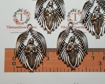 4 pcs per pack 43x28mm Solid praying Angel Charm Antique Silver Finish Lead Free Pewter