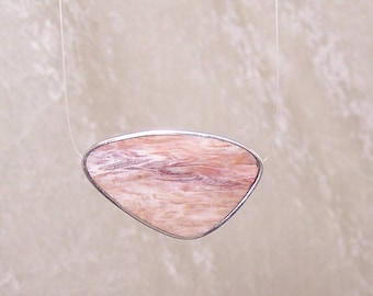 REVERSIBLE Petrified Wood and Black Onyx - Horizontal Free Form Inlaid Bead in Stone and Sterling Silver