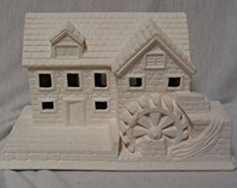 """Mill Village House 6"""" x 8 1/2"""" Ceramic Bisque, Ready To Paint"""
