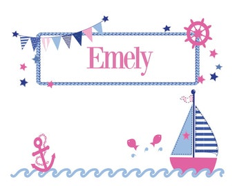 Personalized pillow with name and motif sailboat girl/boy