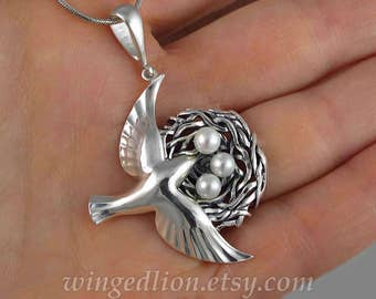 BIRD NEST sterling silver pendant with pearls Ready to ship