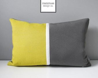 Grey & Acid Yellow Outdoor Pillow Cover, Decorative Pillow Cover, Modern Color Block Pillow Cover, White Gray Citron Sunbrella Cushion Cover