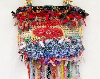 Hand made purse, crochet purse, handbag, rag bag, shabby chic bag, fringed bag, boho bag, purse, designer handbag, gift for her