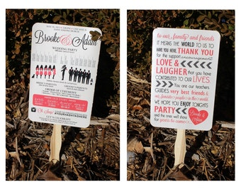 "Fun Paddle Fan Silhouette Wedding Program 5.5"" x 8.5"""