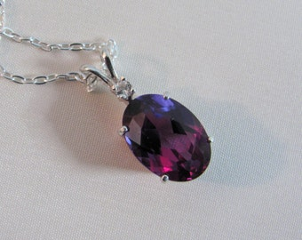 Alexandrite Pendant in Sterling Silver, Color Change, 14x10mm Lab Grown Alexandrite Gemstone, June Birthstone, Alexandrite Accent Necklace