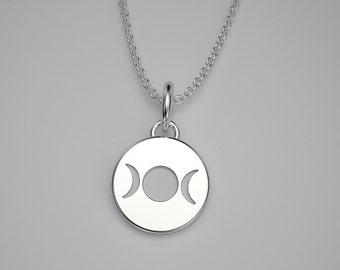 14k Gold Triple Goddess Tiny Charm Necklace - 14k, 18k Yellow, Rose, White Gold & Platinum. TINY TALISMANS™ Line of Spiritual Jewelry
