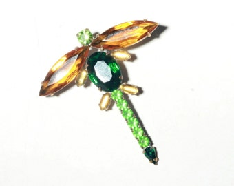 Vintage hand crafted Czech Bohemian dragonfly insect figural pin brooch with faceted glass rhinestones 142-206