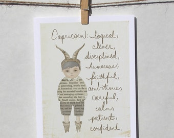 Capricorn boy card Astrology card Zodiac card Astrological sign card with envelope
