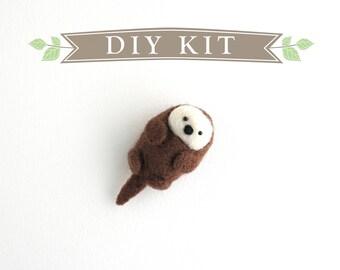 DIY Kit - Otter Needle Felting Kit - Needle Felted Animal Kit