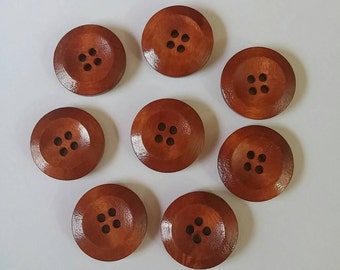 Copper Wooden Buttons x 8