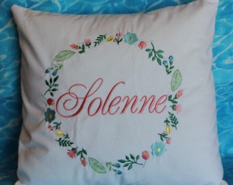 Baby Pillow personalized in an Embroidered Wreath