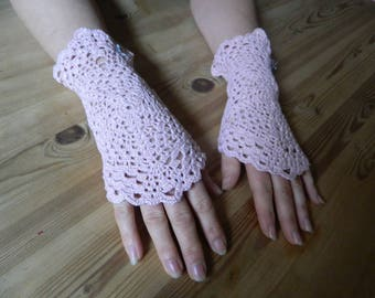 Fingerless gloves crocheted arm warmers pink lace