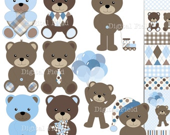 Baby Boy Teddy Bear Clip Art and Scrapbooking Paper Set - blue brown printable digital clipart - instant download