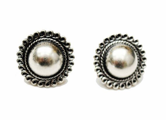 Sterling Silver round Earrings -screw back - domed with twisted wire trim