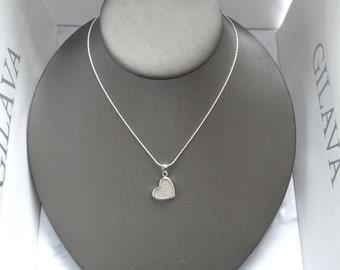 Sterling silver necklace Graciela, silver 925, fine jewelry, heart, zircon stone