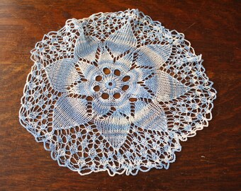 Hand Knitted Lace Doily Blue White Ombre 10.5 Inches