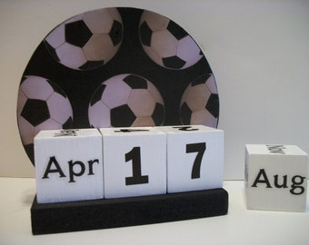 Soccerball Calendar Perpetual Block Calendar Round Wood Soccerball Theme Decor