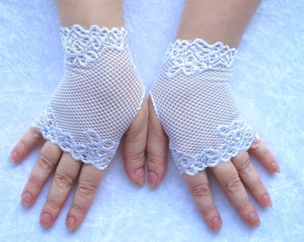 White Fingerless gloves of stretch lace,wedding gloves
