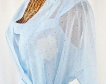 80s Jones New York Robe Nightgown Set Sky Blue Unworn Med