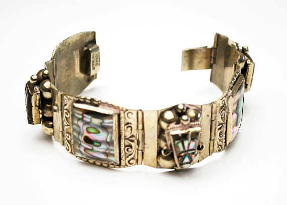Taxco Sterling  Mask face link bracelet - Abalone Shell - AR Mexico signed - Tribal - 925 bangle