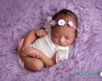 BABY FLOWER CROWN, Lavender Flower Crown, Flower Crown Headband, Lavender Baby Headbands, Purple Headband, Photo Prop, Newborn Headbands