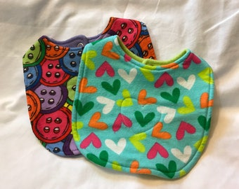 BABY BIBS - Buttons and Hearts - Set of 2 baby bibs - Snap baby bibs