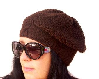 "Women's Crochet Hat: ""DARK BROWN HAT"" Girl Crochet Hat , women beanie, women hat beanie, Womens Knit Hats , skull caps beanies A133"